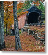 Corbin Covered Bridge Newport New Hampshire Metal Print by Edward Fielding