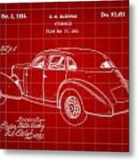 Cord Automobile Patent 1934 - Red Metal Print