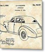 Cord Automobile Patent 1934 - Vintage Metal Print