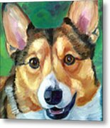 Corgi Smile Metal Print by Lyn Cook