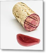 Cork With Red Wine Metal Print