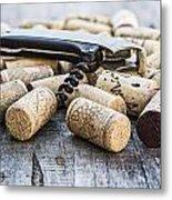 Corks With Corkscrew Metal Print