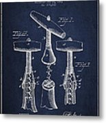Corkscrew Patent Drawing From 1883 Metal Print