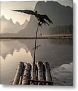 Cormorant Fishing On Li River Metal Print