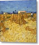 Corn Harvest In Provence Metal Print