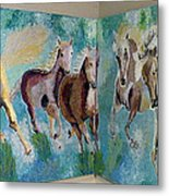 Corner Horses Metal Print by Vicky Tarcau