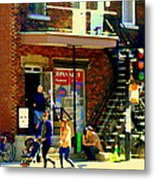 Corner Laurier Marche Maboule Depanneur Summer Stroll With Baby Carriage Montreal Street Scene Metal Print