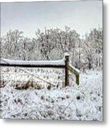 Corner Post Ice And Snow Metal Print