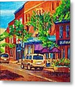 Corona Theatre Presents The Burgundy Lion Rue Notre Dame Montreal Street Scene By Carole Spandau Metal Print
