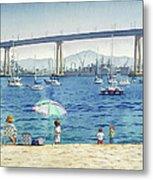 Coronado Beach And Navy Ships Metal Print