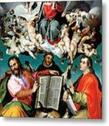Coronation Of The Virgin With Saints Luke Dominic And John The Evangelist Metal Print