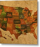 Corporate America Map Metal Print