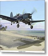 Corsair Takeoff Vf-17 Jolly Rogers Metal Print