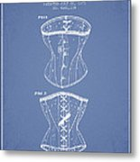 Corset Patent From 1873 - Light Blue Metal Print