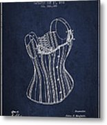 Corset Patent From 1882 - Navy Blue Metal Print