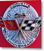 Corvette 25th Anniversary Emblem 1 Metal Print