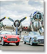 Corvettes With B17 Bomber Metal Print