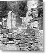 Cosley Mill Ruins In Black And White Metal Print