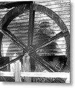 Cosley Mill Waterwheel In Black And White Metal Print