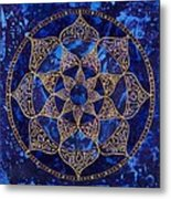 Cosmic Blue Lotus Metal Print