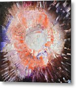 Cosmic Burst Orange Brown White Abstract Art By Chakramoon Metal Print
