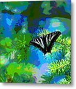 Cosmic Butterfly In The Pines Metal Print