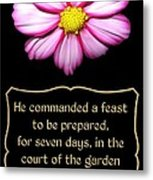 Cosmos Flower With Bible Quote From Esther Metal Print