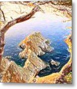 Costa Brava In Spain With Crayons Metal Print