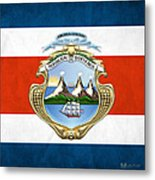 Costa Rica Coat Of Arms And Flag  Metal Print