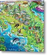 Costa Rica Map Illustration Metal Print