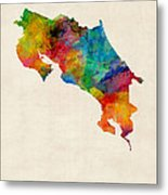 Costa Rica Watercolor Map Metal Print by Michael Tompsett
