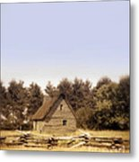Cottage And Splitrail Fence Metal Print