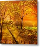 Cottage By The Lake-original Sold- Buy Giclee Print Nr 32 Of Limited Edition Of 40 Prints  Metal Print