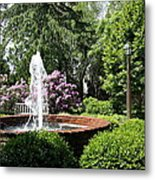 Cottage Garden Fountain Metal Print