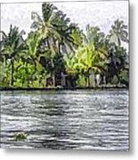 Cottage In The Midst Of Greenery Metal Print
