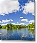 Cottage Lake With Diving Platform And Dock Metal Print by Elena Elisseeva