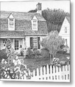 Cottage Pencil Portrait Metal Print