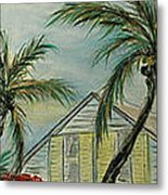 Cottage Rooftops And Palm Trees Harbor Island Metal Print