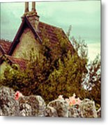 Cottage Seen Over A Wall Metal Print