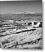 cottages and holiday homes with fields with dry stone walls gweedore county Donegal Republic of Ireland Metal Print