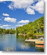 Cottages On Lake With Docks Metal Print
