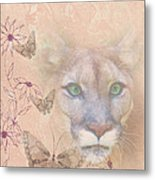 Cougar And Butterflies Metal Print