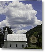 Country Church And Sign Metal Print