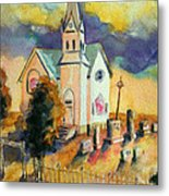 Country Church At Sunset Metal Print