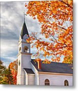 Country Church Under Fall Colors Metal Print
