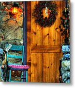 Country Cottage Door At Christmas Metal Print