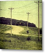 Country Dirt Road And Telephone Poles Metal Print