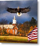 country Eagle Church Flag Patriotic Metal Print