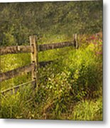 Country - Fence - County Border  Metal Print by Mike Savad