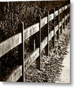 Country Fence Sepia Metal Print